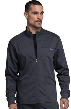 Men's Zip Up Solid Scrub Jacket