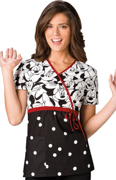 Women's Mock Wrap Minnie Mouse Print Scrub Top, , large