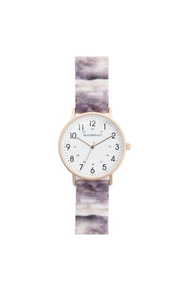 Women's Rose Gold Marble Print Silicone Watch, , large