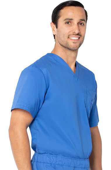 Stretch Men's by V-Neck Solid Scrub Top, , large