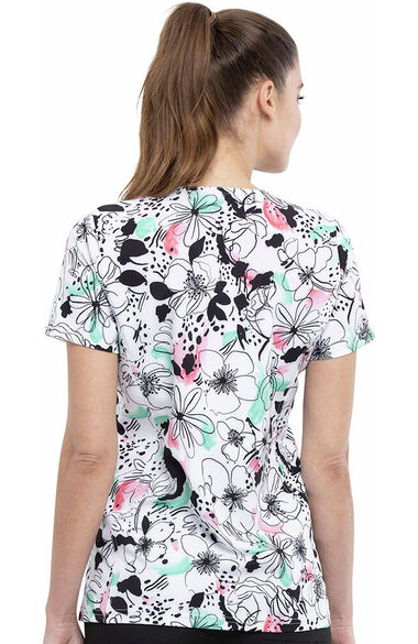 Women's Sketched Floral Print Scrub Top, , large