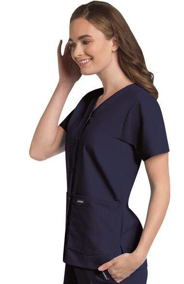 Women's Snap Front 4-Pocket V-Neck Solid Scrub Top, , large
