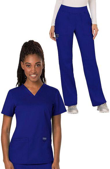 Women's V-Neck Solid Scrub Top & Elastic Waistband Scrub Pant, , large