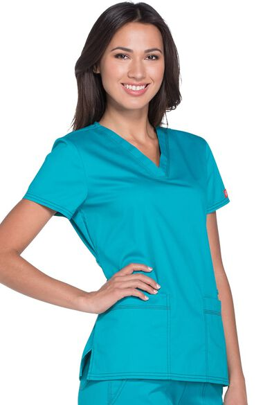 Clearance Women's V-Neck Solid Scrub Top, , large