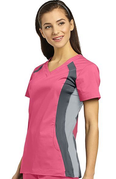 Women's V-Neck Side Panel Solid Scrub Top, , large