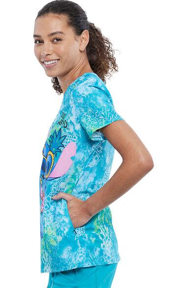 Women's Stay Weird Print Scrub Top, , large