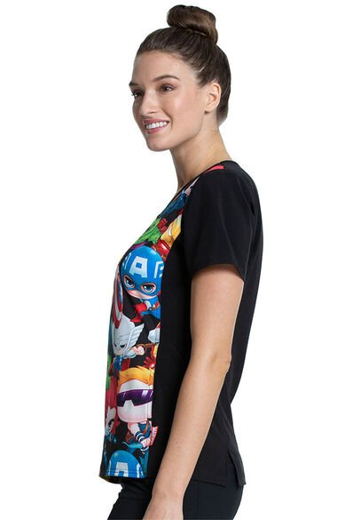 Clearance Women's Team Up Print Scrub Top, , large