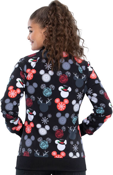 Clearance Women's That's Snow Mickey Print Scrub Jacket, , large