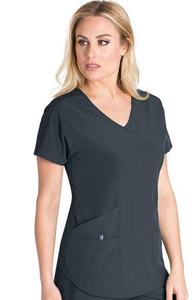 Clearance Women's Mock Wrap Split Back Solid Scrub Top, , large