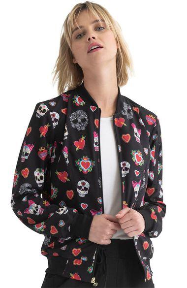 Clearance Women's Dia De Las Flores Print Scrub Jacket, , large