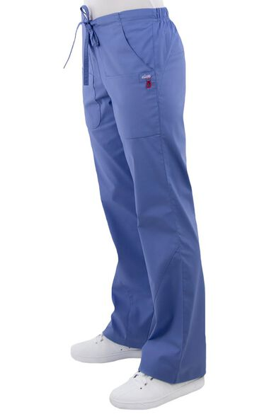 Women's V-Neck Solid Scrub Top & Flare Leg Drawstring Scrub Pant Set, , large
