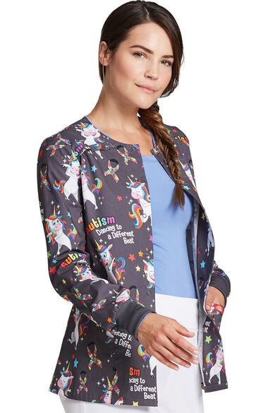 Women's Snap Front A Different Beat Print Scrub Jacket, , large