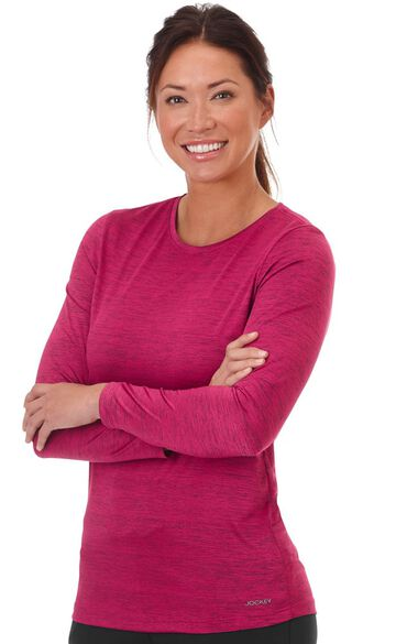 Clearance Women's Long Sleeve Dry Comfort Solid Underscrub T-Shirt, , large