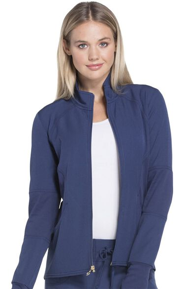 Women's Zip Front Warm-Up Solid Scrub Jacket, , large