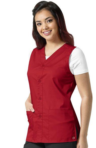 Unisex Button Front Solid Scrub Vest, , large