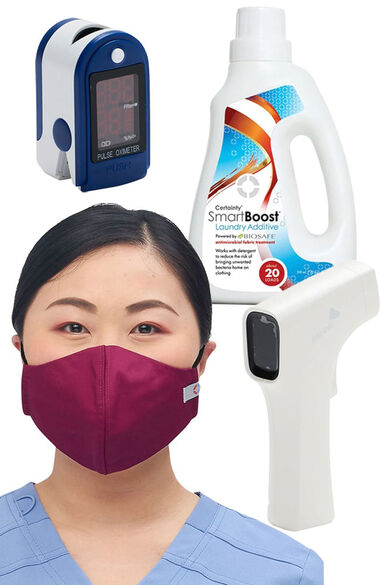 Home Healthcare Essentials Kit - Certainty Mask Pack, SmartBoost, Infrared Thermometer & Pulse Oximeter, , large