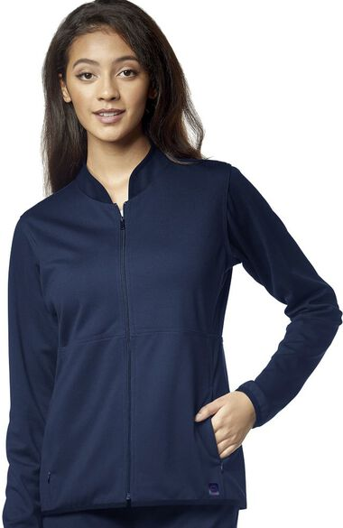 Clearance Women's Ponte Knit Solid Scrub Jacket, , large