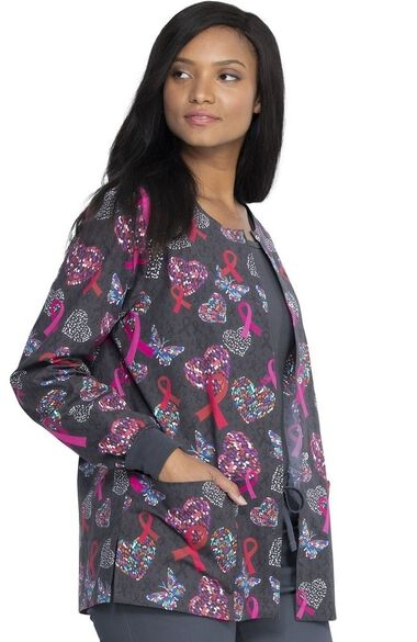 Clearance Women's Snap Front Speck-Tacular Love Print Scrub Jacket, , large