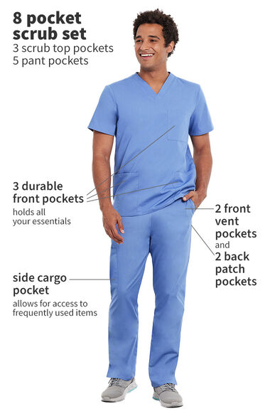 Unisex 3 Pocket Solid Scrub Top & 5 Pocket Cargo Scrub Pant, , large
