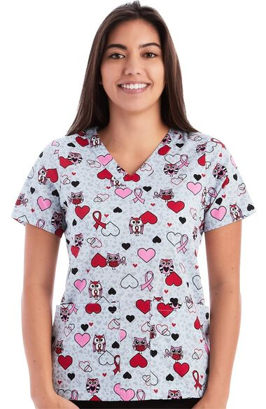 Women's Owl Hearts Print Scrub Top, , large