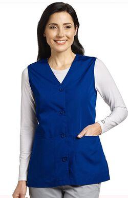 Women's Button Front Solid Scrub Vest