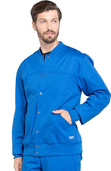 Clearance Men's Snap Front Solid Scrub Jacket, , large