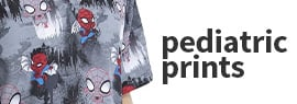 Click to shop our selection of pediatric print scrub tops