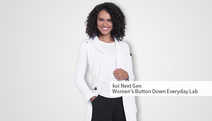 smiling woman wearing fashionable lab coat