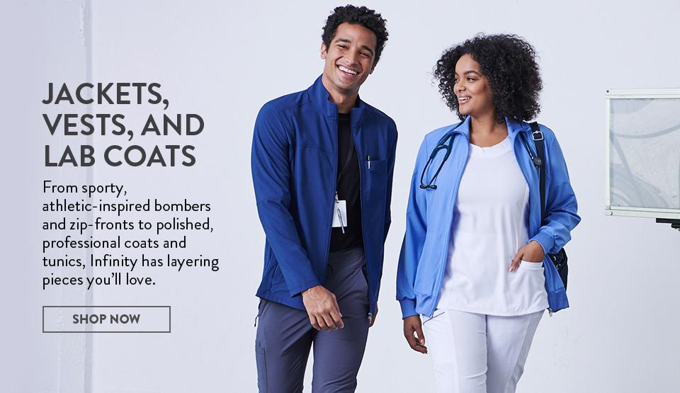 click to shop cherokee infinity's jackets and lab coats