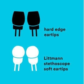 Learn the difference between heard edge and Litmann stethoscopesoft eartips