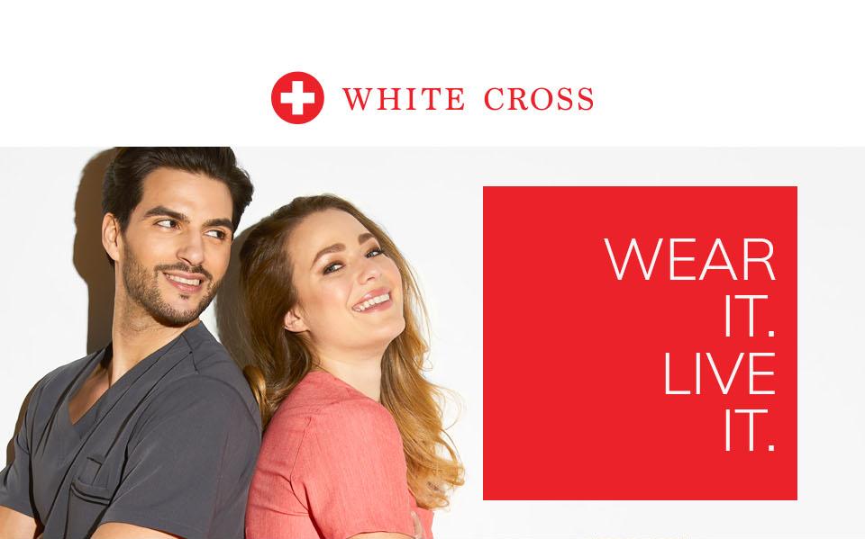 click to shop white cross. wear it. live it.