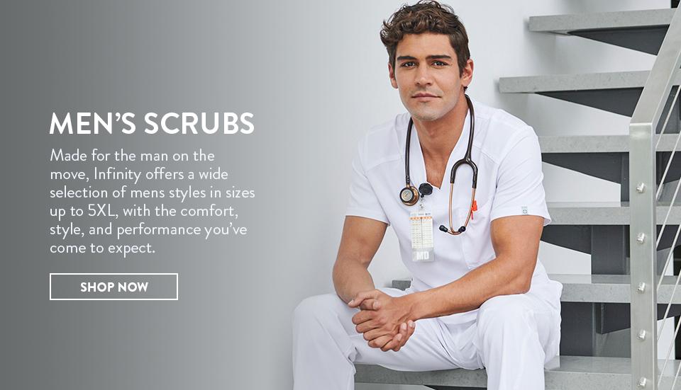 click to shop cherokee infinity men's scrubs