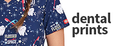 Click here to shop our selection of dental print scrub tops