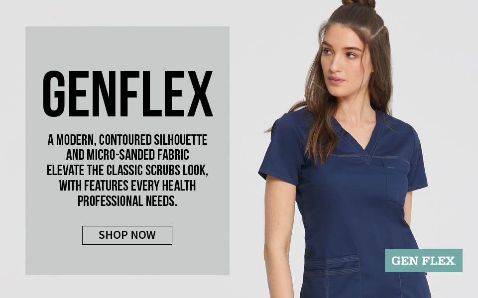 click to shop gen flex by dickies. a modern, contoured silhouette and a micro-sanded fabric elevate the classic scrubs look.