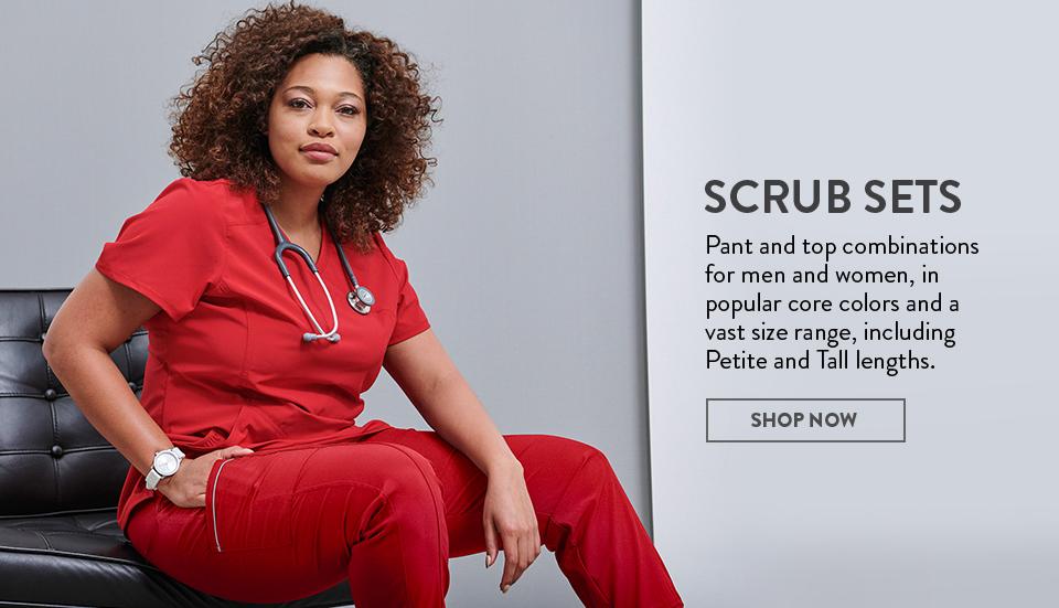click to shop cherokee infinity's scrub sets