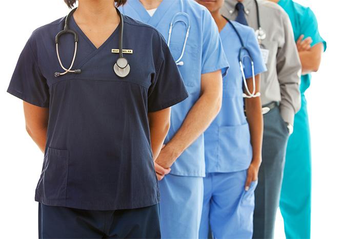 medical team wearing slimming scrubs