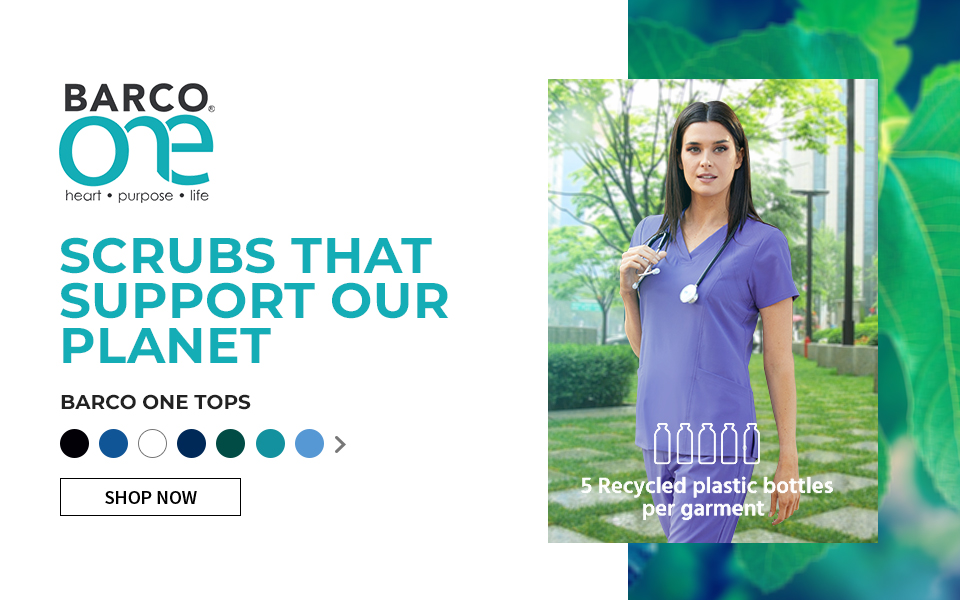 click to shop barco one tops. scrubs that support our planet.