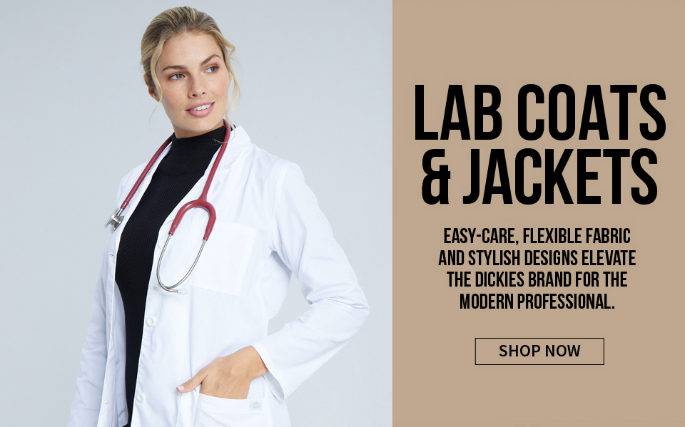 click to shop dickies lab coats. easy-care, felxible fabric, and stylish designs elevate the dickies brand for the modern professional.