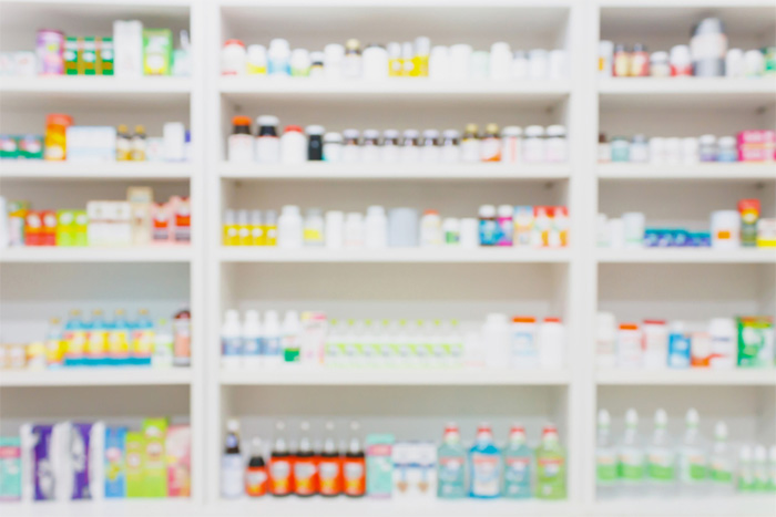 pharmacy shelves with medication
