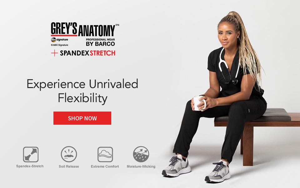 click to shop spandex stretch by grey's anatomy.