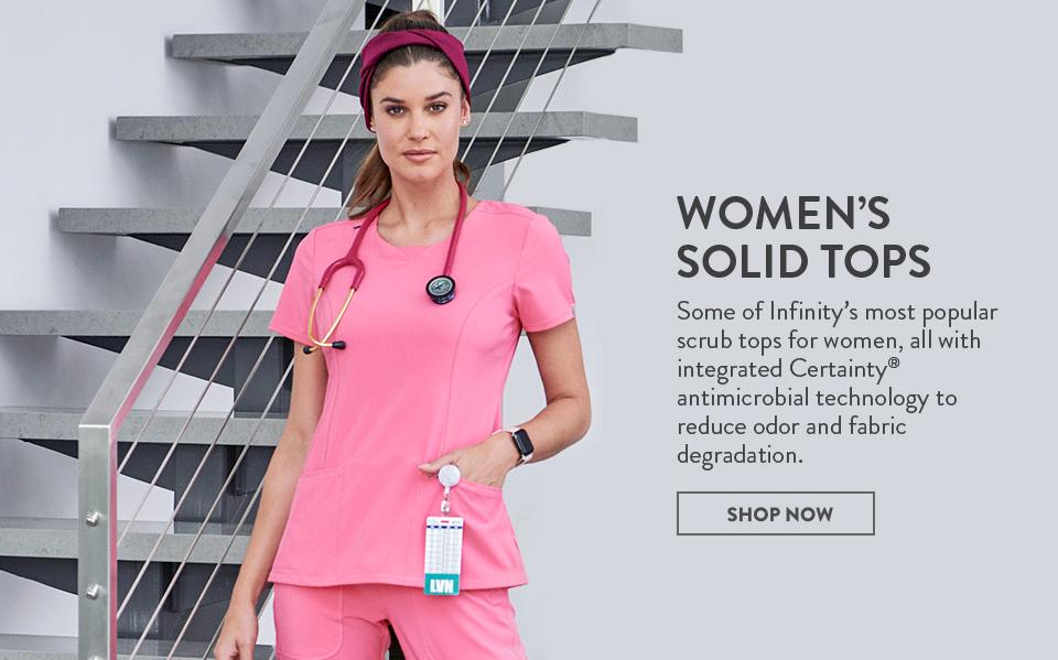 click to shop cherokee infinity women's solid tops