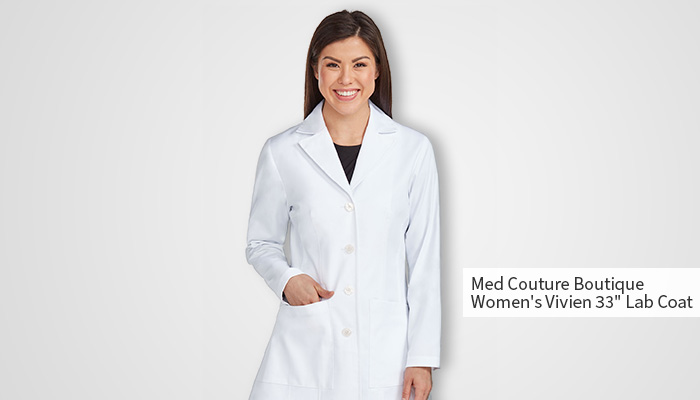woman wearing buttoned up white lab coat