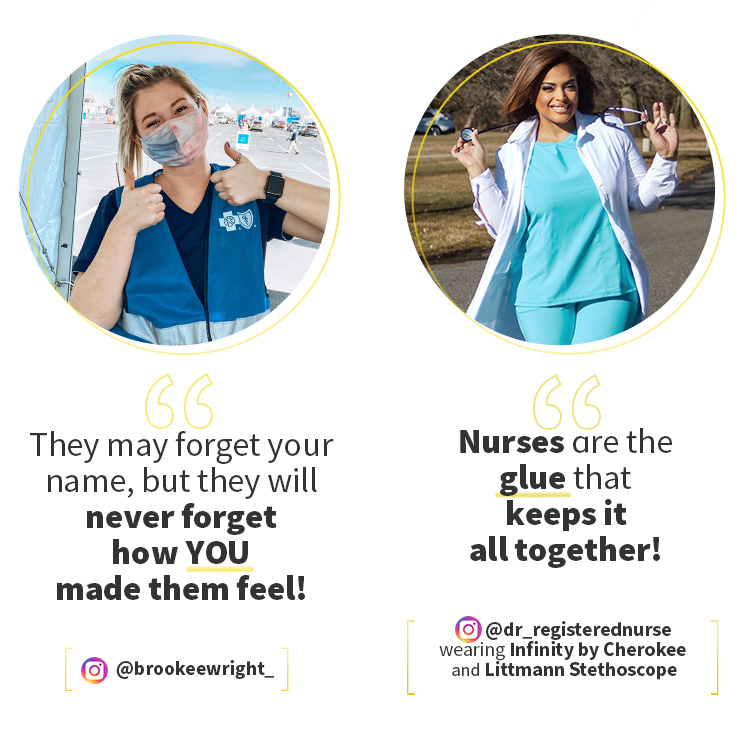 @brookeewright_. @dr_registerednurse wearing Infinity by Cherokee and holding a Littmann Stethoscope