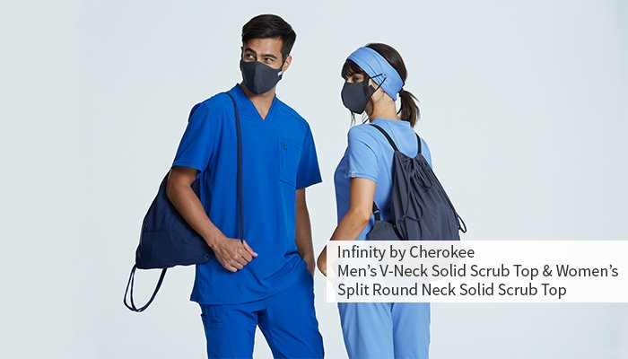 male and female wearing masks and scrubs for veterinarians