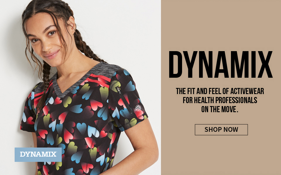click to shop dynamix by dickies. the fit and feel of activewear for health professionals on the move.