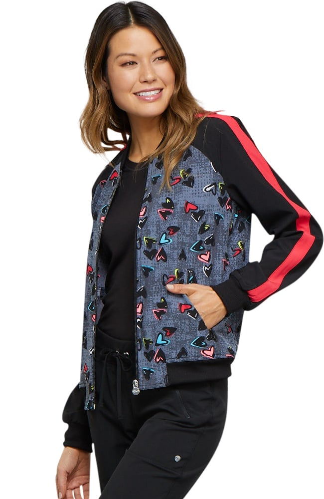 Cherokee Marked Hearts Zip Front Jacket Print Scrubs